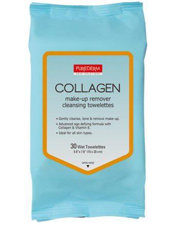 PUREDERM Collagen Lenços Demaquilantes c/30 unidades