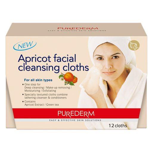 PUREDERM Apricot Facial Cleansing Cloths c/12 unidades