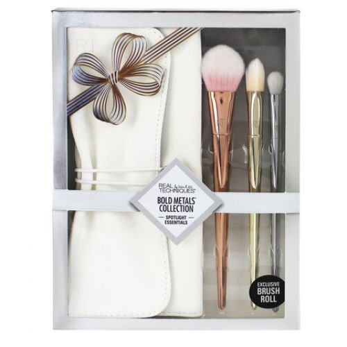REAL TECHNIQUES Spotlight Essentials Bold Metals Collection Kit c/3 peças e Estojo