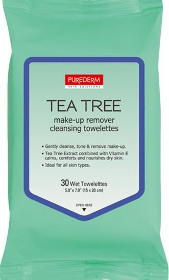 PUREDERM Tea Tree Lenços Demaquilantes c/30 unidades