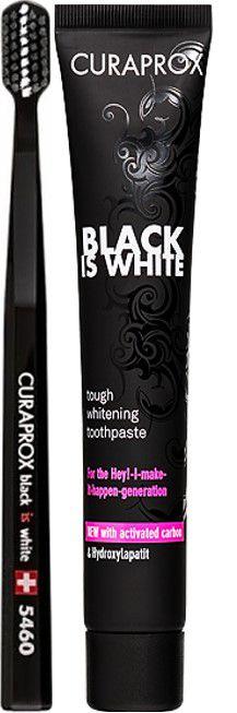 CURAPROX Black is White 90ml Creme Dental Clareador + Escova Dental 5460 Ultra Soft Edição Especial