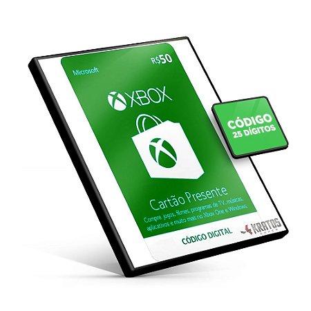 Cartão Microsoft Gift - Xbox - R$50 - 25 Dígitos
