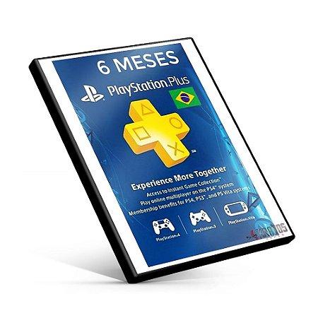 Cartão Playstation Plus 6 Meses Brasil - Cartão PSN