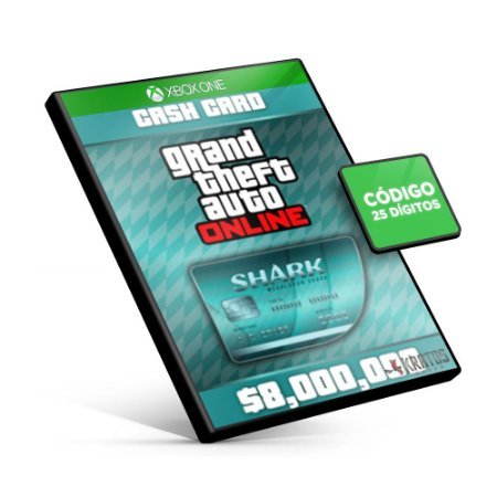 Grand Theft Auto Online: Megalodon Shark Cash Card 8,000,000$ - Xbox One - Código 25 Dígitos