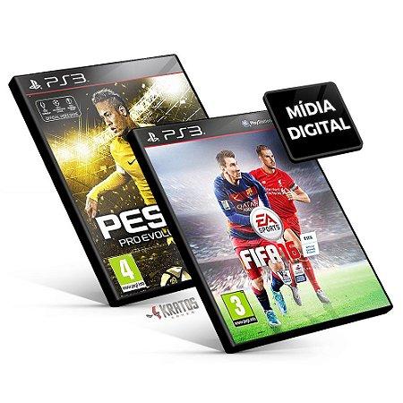 Pro Evolution Soccer 2016 + Fifa 16 - PS3 Mídia Digital