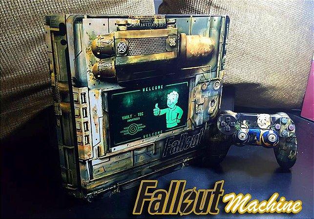 Skin Adesiva para PlayStation 4 - Fallout Machine + 2 Adesivos Light Bar