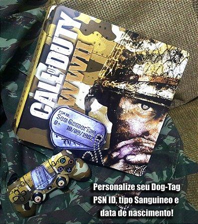Skin Adesiva para PlayStation 4 - Call of Duty WW2 (Personalize sua GamerTag) + 2 Adesivos Light Bar