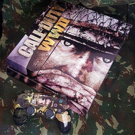 Skin Adesiva para PlayStation 4 - Call of Duty WW2 + 2 Adesivos Light Bar