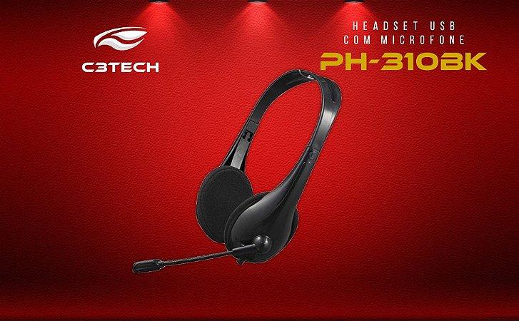 FONE HEADSET USB PH-310BK PRETO C3T - P