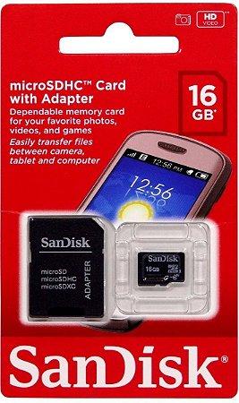 CARTÃO MEMORIA MICRO SD 16GB SANDISK - P1