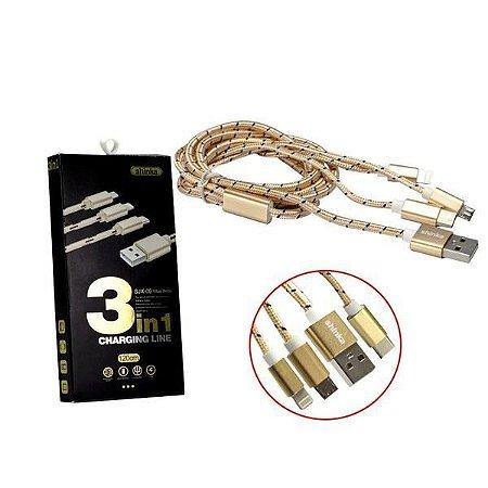 CABO DADOS USB 3 EM 1 TIPO C/V8/IPHONE SHINKA