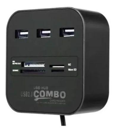 HUB USB 3P + LEITOR CARTÃO MEMÓRIA UNIVERSAL