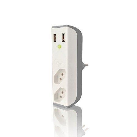 ADAPTADOR DE TOMADA C/ USB COLETEK ENERGIA
