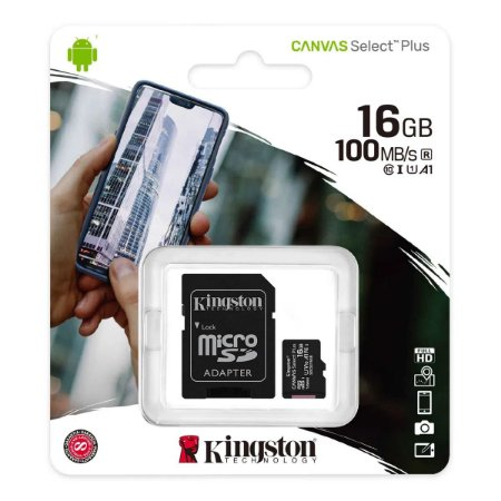 CARTÃO MEMORIA MICRO SD 16GB KINGSTON CANVAS