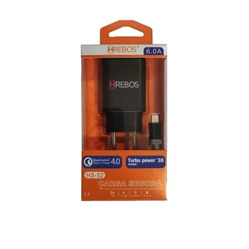 CARREGADOR USB 6(A) + CABO LIGHTNING HREBOS HS52