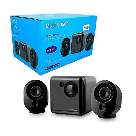 CAIXA DE SOM SUBWOOFER USB/P2 15W SP1666 MULTILASE