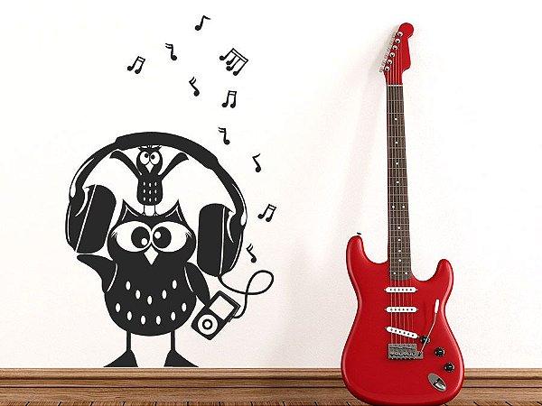 Adesivo de parede - Coruja com Headphone