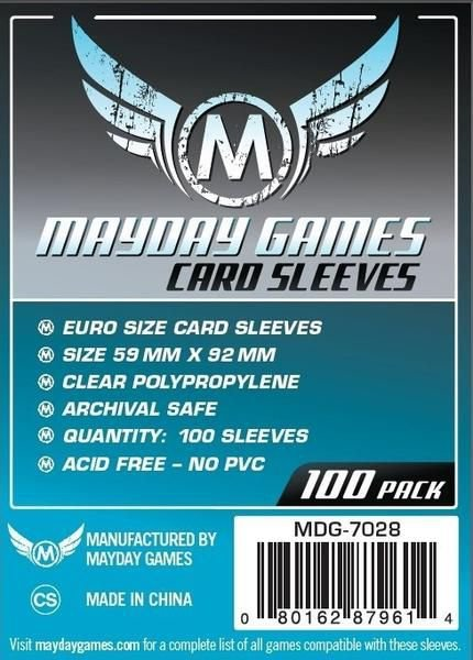 Sleeves MayDay Games 59 X 92 MM – (EURO) - 100 Unidades