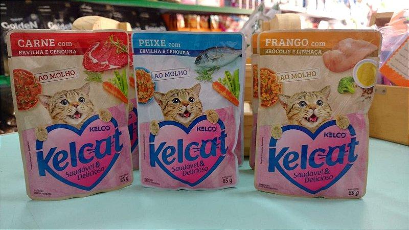 Kelcat sache nos sabores Carne, Peixe e Frango 85g cada