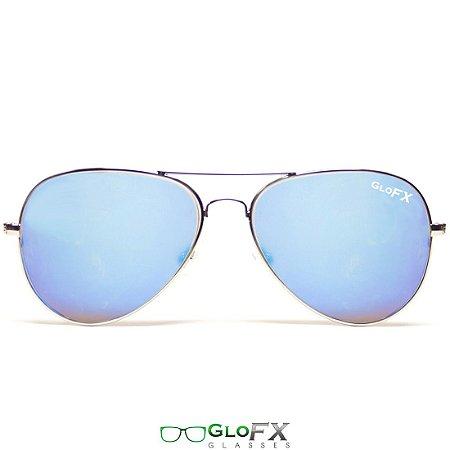 4acce9e146fa7 Óculos de difração Aviador espelhado Azul - TripFX Óculos Psicodélicos