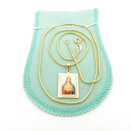 Corrente Feminina 50cm 1mm Sagrado Coração Jesus Gg139