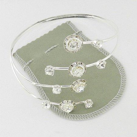 Bracelete Feminino Stras Branco Folheada Prata Bra76