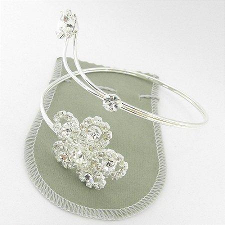 Bracelete Feminino Flor Stras Branco Folheada Prata Bra73