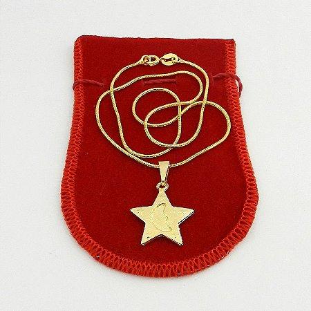 Corrente Feminina 40cm 1mm Estrela 20mm Folheado Ouro Cr097
