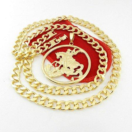 Corrente Masculina 70cm 1cm + São Jorge Folheado Ouro Cr114