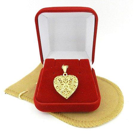 Pingente Coração Relicario 3cm Folheado Ouro Pi217