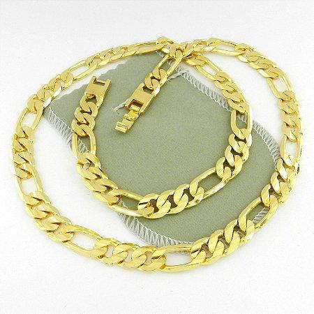 Corrente Masculina 70cm 1cm Largura Folheada Ouro Cr142