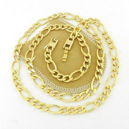 Corrente Masculina 60cm 7mm Largura Folheado Ouro CR143