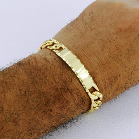 Pulseira Masculina 20cm 1cm Largura Folheado Ouro PL125