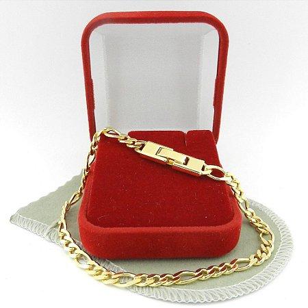 Pulseira Masculina 18cm 5mm Largura Folheado Ouro PL445