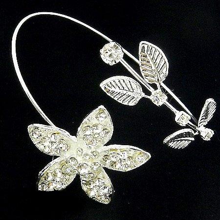 Bracelete Feminino Flor Stras Branco Folheada Prata Bra20