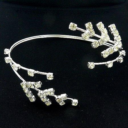 Bracelete Feminino Stras Branco Folheada Prata Bra30