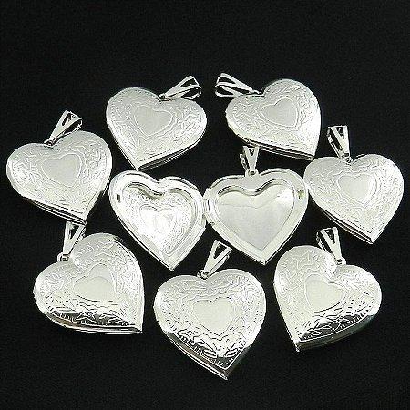 Coração Relicario 3cm Kit 100 Peças Folheada Prata Pi181-K100
