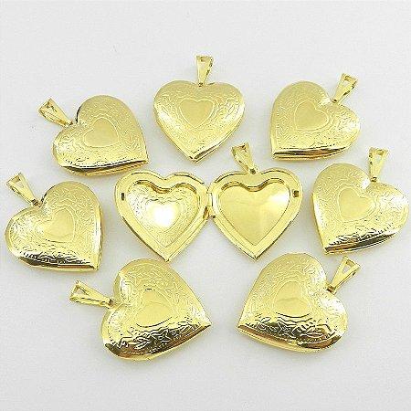 Coração Relicario 3cm Kit 30 Peças Folheado Ouro Pi157-K30