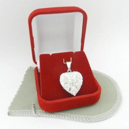 Pingente Coração Relicario 2cm Folheada Prata Pi173