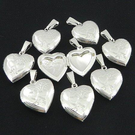 Coração Relicario 2cm Kit 10 Peças Folheado Prata Pi168-K10