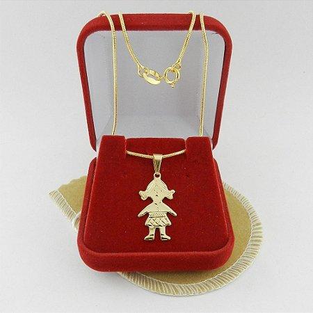 Corrente Feminina 40cm 1mm Menina Folheado Ouro CR728