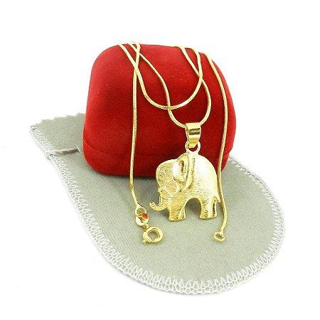 Corrente Feminina 60cm 1mm Elefante Folheado Ouro CR284