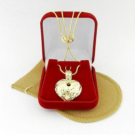 Corrente Feminina 40cm 1mm Coração Folheado Ouro CR286