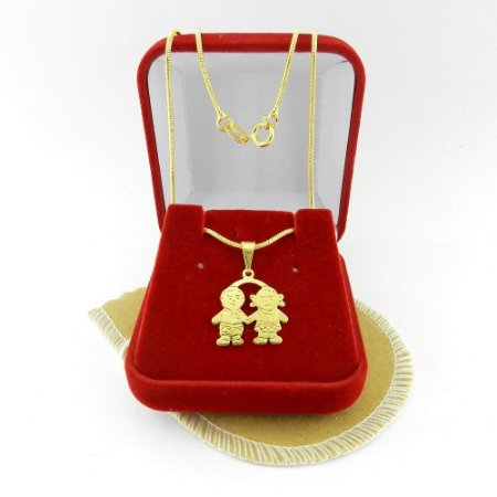 Corrente Feminina 40cm Menina + Menino Folheado Ouro Cr440