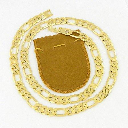 Corrente Masculina 70cm 1cm Largura Folheada Ouro CR719