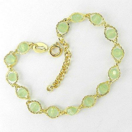 Pulseira Feminina 16 a 19cm Verde Folheada Ouro PL427