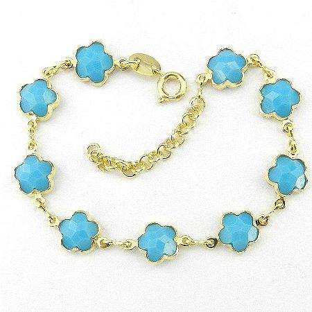 Pulseira Feminina 16 a 19cm Azul Folheada Ouro PL423