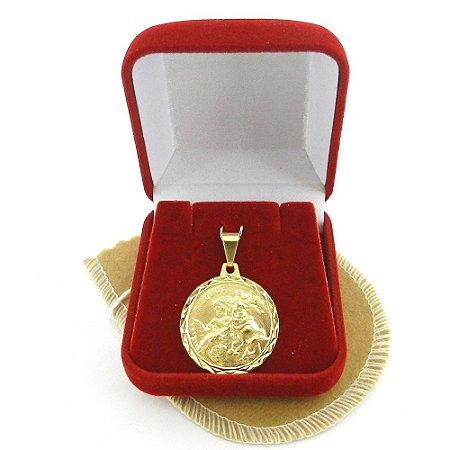 Pingente São Jorge 18mm Folheado Ouro Pi112