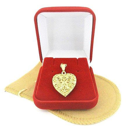 Pingente Coração Relicario 2cm Folheado Ouro Pi140