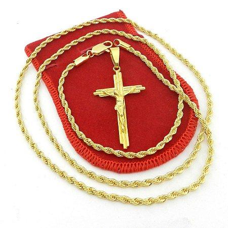 Corrente Masculina 70cm 3mm Cruz Cristo Folheado Ouro CR751